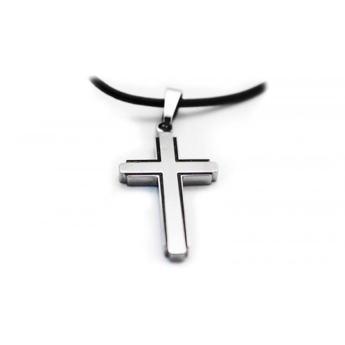 Gardian contemporary titanium cross necklace with leather chain aloadofball Images