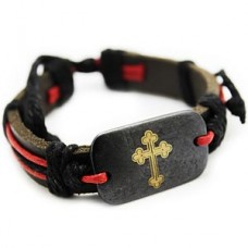 Red Bottony Plack Cross Bracelet