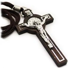 Dark Brown Benedict Wood Cross Necklace