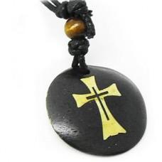 Button Contemporary Flare Cross Necklace