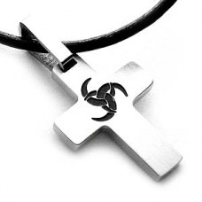 Celtic Contemporary Stainless Steel  Cross Necklace