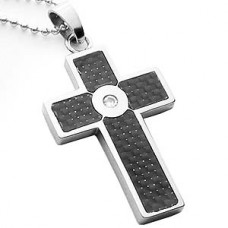 Clear Heart Carbon Fiber  Stainless Steel Cross Necklace