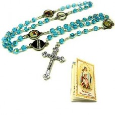 Glorious Blue Five Mystery Cross Necklace