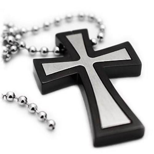 Double flared titanium cross necklace aloadofball Images
