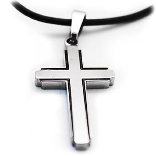 Gardian contemporary titanium cross necklace with leather chain mozeypictures Choice Image