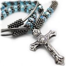 Aqua Glass Bead Rosary Cross Necklace