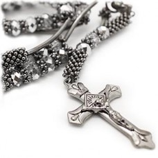 Glass Bead Rosary Cross Necklace