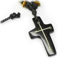 Hawaiian Cross Necklace with Black Necklace