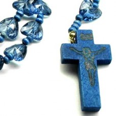 Blue Hearted Chain Wood Cross Necklace