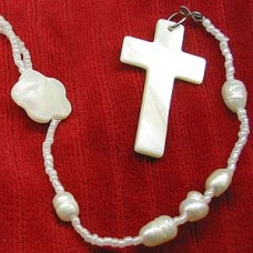 Mother of Pearl Cross Necklace - White