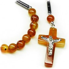 Carnelian Stone Crucifix Cross Necklace