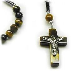Catseye Stone Crucifix Cross Necklace