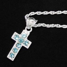 Silver Aqua-Rhinestone Cross Necklace