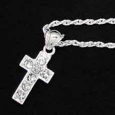 Silver Rhinestone Cross Necklace