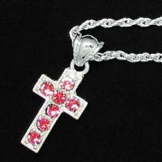 Silver Ruby-Rhinestone Cross