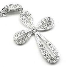 Silver Clover Cross Necklace