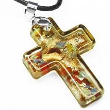 Urban Faith Cross Necklace - Lite Brown