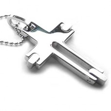 Wheels of Life Stainless Steel Cross Necklace