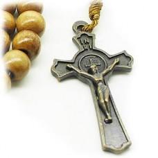 Wood Bead Benedict Crucifix Cross Necklace Brown