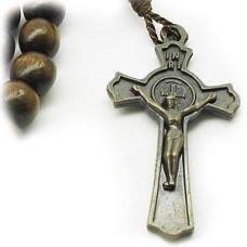 Wood Bead Benedict Crucifix Cross Necklace Dark Brown