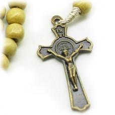Wood Bead Benedict Crucifix Cross Necklace