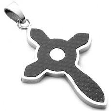 Celtic Carbon Fiber Stainless Steel Cross Pendant