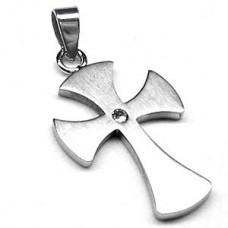 Clear Heart Victorian Stainless Steel Cross Pendant