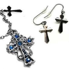 Victorian Locket - Blue Cross Necklace