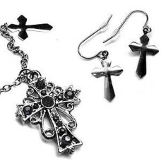 Victorian Locket - Black Cross Necklace