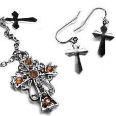 Victorian Locket - Citrine Color Cross Necklace