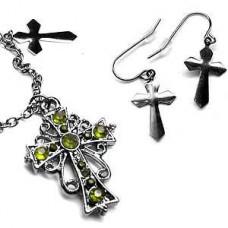 Victorian Locket - Green Cross Necklace